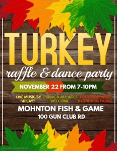 Turkey Raffle and Dance 2019 @ Mohnton Fish and Game | Mohnton | Pennsylvania | United States